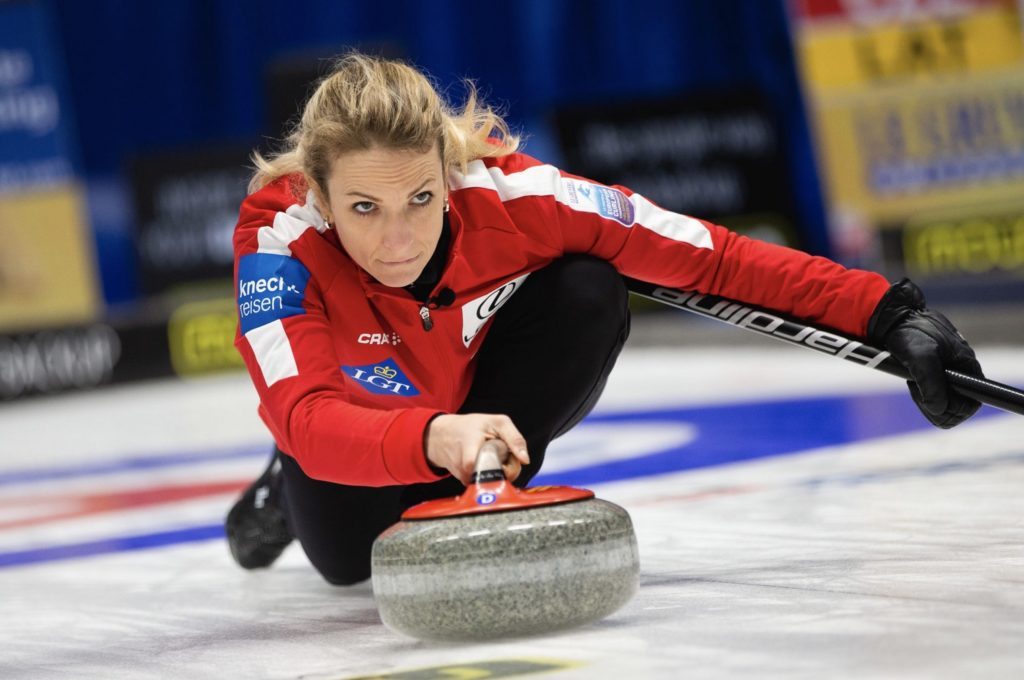 Silvana Tirinzoni at the Le Gruyere AOP European Curling Championships 2019, Helsingborg, Sweden © WCF / Richard Gray